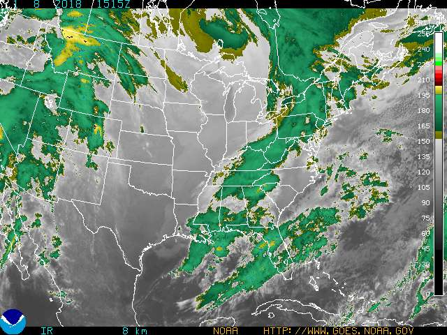 Infrared Satellite Image Color #1 for Clarksville TN, Fort Campbell KY and Montgomery County Tennessee.
