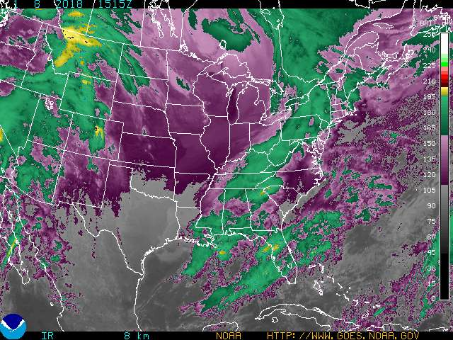 Infrared Satellite Image Color #2 for Clarksville TN, Fort Campbell KY and Montgomery County Tennessee.