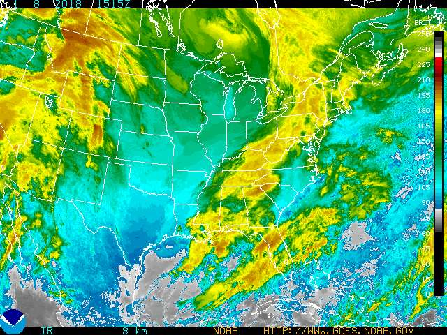 Infrared Satellite Image Color #3 for Clarksville TN, Fort Campbell KY and Montgomery County Tennessee.