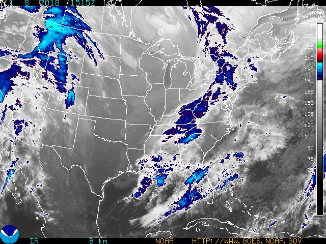 Infrared Satellite Image Color #4 for Clarksville TN, Fort Campbell KY and Montgomery County Tennessee.