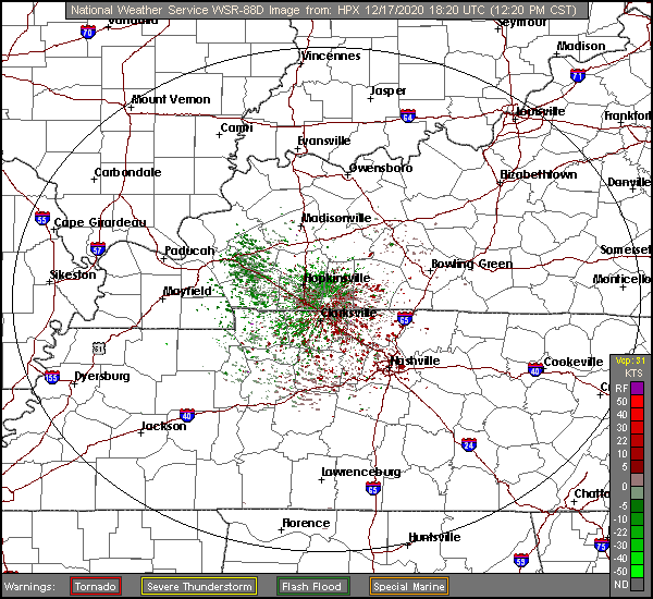Storm Relative Motion Weather Radar for Clarksville TN, Fort Campbell KY, and Montgomery County Tennessee