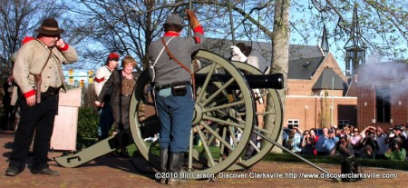 Montgomery County Mayor Carolyn Bowers fires off the canon at the Sesquicentennial kick-off in Montgomery County on April 6th 2010.